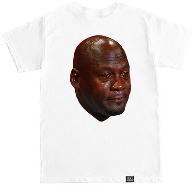 MJ CRYING FACE FUNNY HUMOR COSTUME JORDAN AIR RETRO SHOES HIP HOP MEME T - Mj Costume
