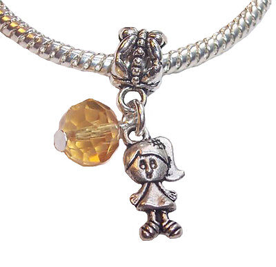Little Girl Birthstone Charm - November Birthstone Little Girl Baby Crystal Dangle Charm Gift for Euro Bracelet
