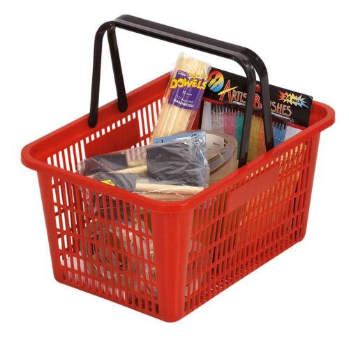 "Red Shopping Basket Plastic Retail Merchandise 12"" x 17"" Supermarket Handles"