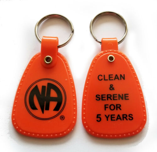 Narcotics Anonymous - NA - 5 year  ORANGE & BLACK  KEY TAG - 5+ yr clean