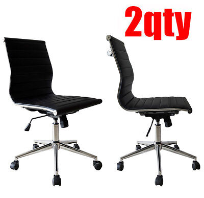 2 Modern Executive Office Chair Mid Back Pu Leather Armless Tiltable Desk Chair