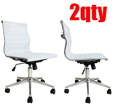 2 Modern Executive Office Chair Mid Back Pu Leather Armless Desk Chair