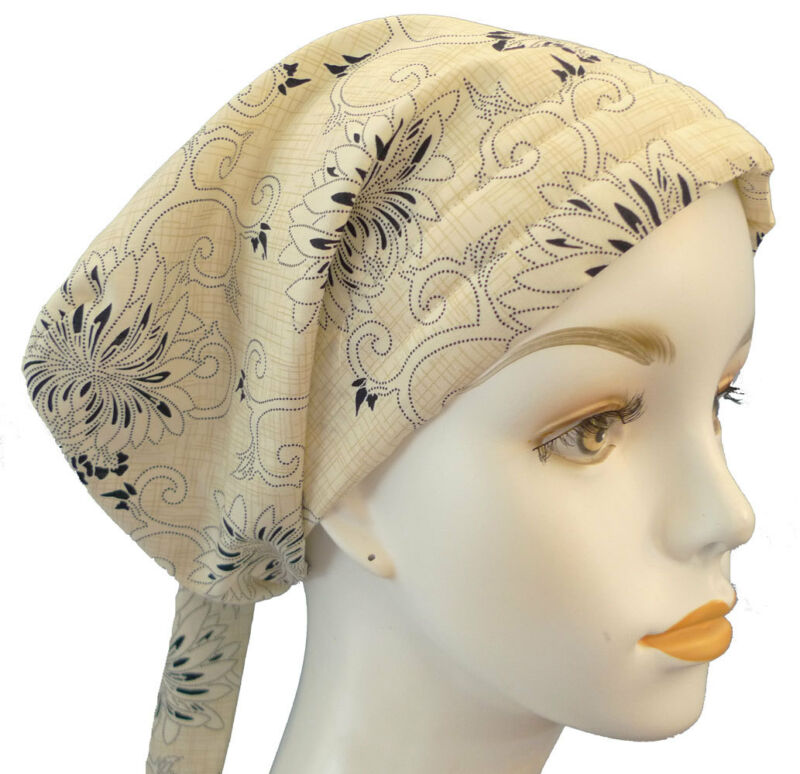 Tan & Blue Floral Cancer Chemo Hat Hair Loss Scarf Turban Alopecia Head Cover