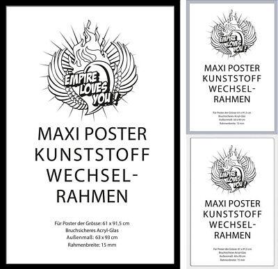 Wechselrahmen Posterrahmen empireposter® Kunststoff 61x91,5 schwarz/silber/weiß