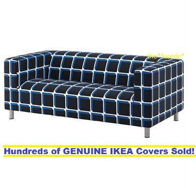 Ikea Klippan Loveseat  2 Seat Sofa  Cover Slipcover Alvared Black Blue Sealed