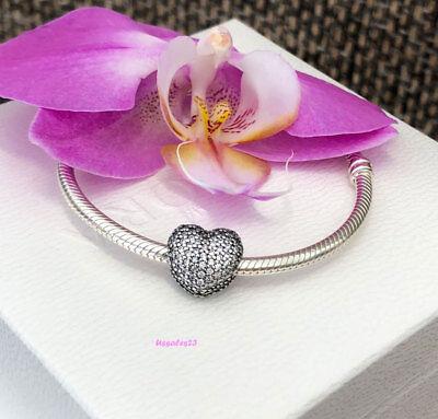 Pandora Pave Open My Heart Clip Charm  Bracelet Bead  Brand New   791427Cz