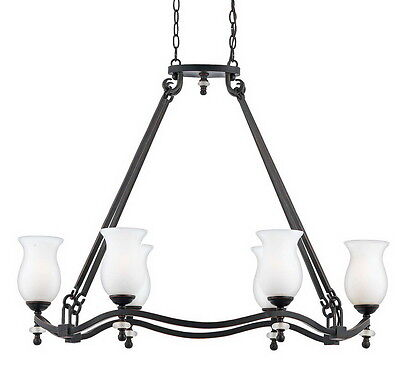 """Bronzed Copper And Frosted Seedy Glass 6 Light Chandelier 37"""" x 29.5"""""""