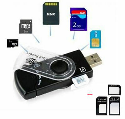 USB SIM Card Reader Editor SMS Backup GSM / CDMA +CD Deleted Text Recovery Black