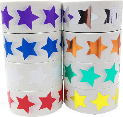Star Shaped Stickers, 1 Inch Wide, 500 Labels on a Roll, 16 Color Choices