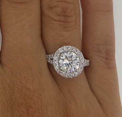 3 Ct Round Cut Diamond Engagement Ring SI1D 14K White Gold