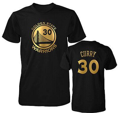 Golden State Warriors Stephen Curry Gold Print Jersey Men's T Shirt   - Gold State Warriors