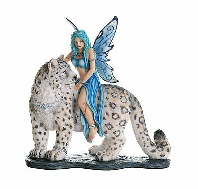 Forest Tribal Fairy w White Snow Leopard Figurine Statue Faery Collection