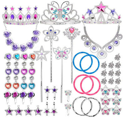 Kids Princess Jewelry Dress Up Accessories Toy Playset for Girls (50 pcs)