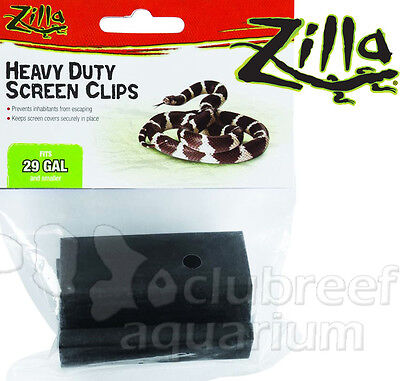 Heavy Duty Reptile 5 - 29 Gallon Cage Screen Cover Clips 2pk Zilla
