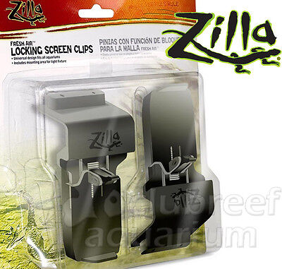 Fresh Air Locking Reptile Cage/Aquarium Screen Cover Clips 2pk Zilla