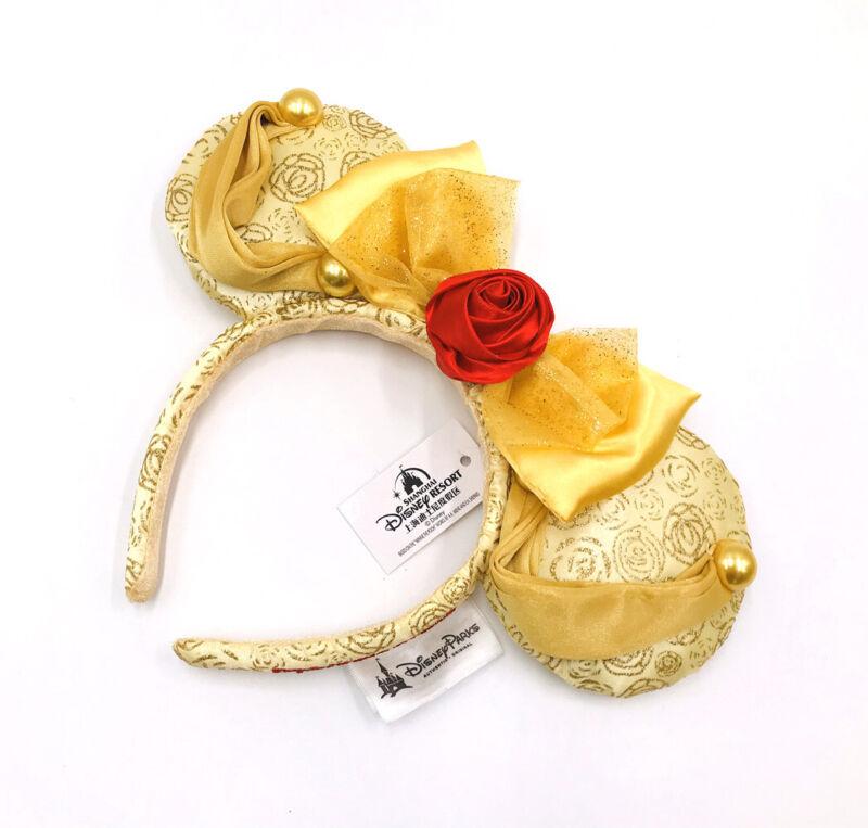 Disney Park Mickey Belle Minnie Mouse Ears Beauty and the Beast Bow Headband