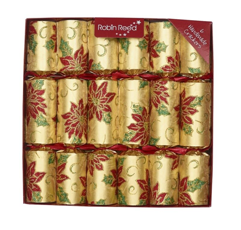 Robin Reed H0 Christmas Holiday 6pc 12in Themed Crackers - Poinsettia 62014