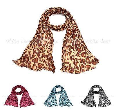 Big Leopard Cheetah Animal Print Wrinkle Scarf Wrap See Through Light Weight