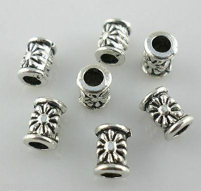 50pcs Tibetan Silver Hole:2.5mm tube flower Spacer Beads 5*7mm