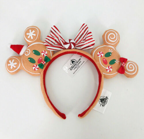 2020 Christmas Gingerbread Minnie Ears Bow Rare Shanghai Disney Parks Headband