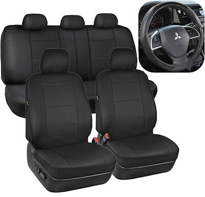 Black Synthetic Leather Seat Covers for Car SUV Auto w/ Steering Wheel Cover