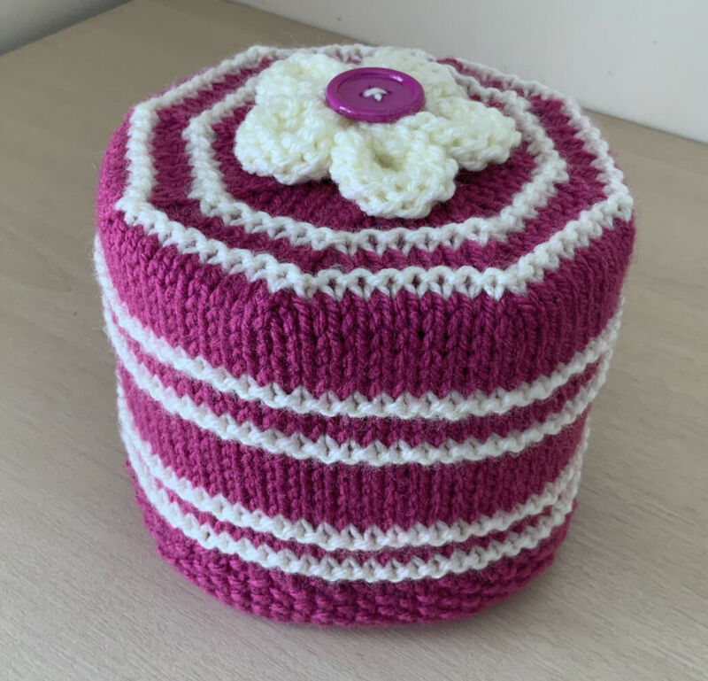 Hand+Knitted+Deep+Red+%26+Cream+Striped+Toilet+Roll+Holder+with+Flower+Topper