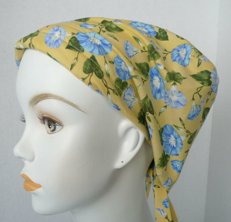 Blue Morning Glory Cancer Chemo Alopecia Fitted Hair Scarf Turban Hat Headwrap