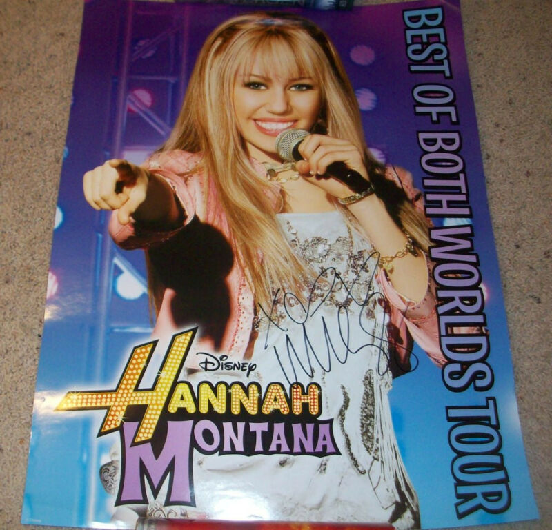 MILEY CYRUS SIGNED AUTOGRAPH HANNAH MONTANA 18x24 CONCERT POSTER w/PROOF