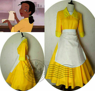 Tiana Adult Costume Waitress Yellow Dress The Princess and The Frog Cosplay Maid](Adult Princess Tiana Costume)