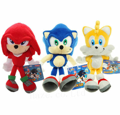 Set Of 3 Sonic The Hedgehog Sonic Knuckles Tails Stuffed Plush Doll Toy 8 Inch