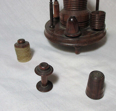 7pc Wood,Treen CASTLE sew ETUI;pin cushion,tape measure,Thimble;COMPLETE c1800