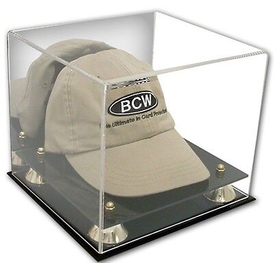 (BCW Deluxe Acrylic Wall Mount Hat Cap Display Case Mirrored Back Gold Risers)