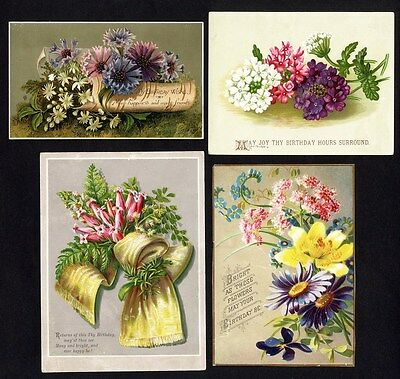 BIRTHDAY Victorian Greetings 4 Cards c 1880's - Floral Daisies Colorful Flowers