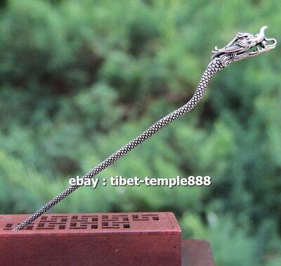 15 CM Chinese Pure Bronze Handwork Women Girl Dragon Head hair clasp hairpin