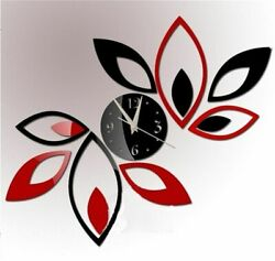 - Toprate® Silver Creative Red and Black Rhombus Leaves Leaf Diamonds Wall Clock
