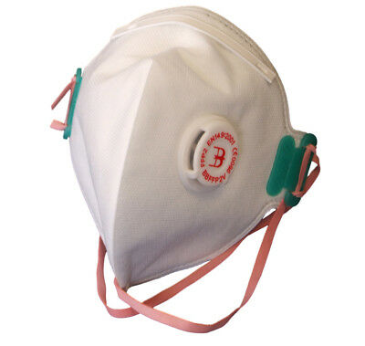 B Brand Fold Flat Disposable Respirator Dust Masks FFP2V 20 Pack Valved