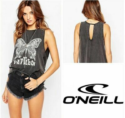 O'Neill Vest Top Size 8 Small Ladies Womens Black Out Grey Tank Top  gebraucht kaufen  Versand nach Germany