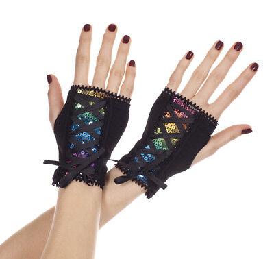 Sequin Gloves (RAINBOW SEQUIN Wrist Length Fingerless Gloves w/ Corset Straps -)