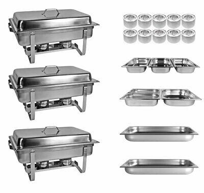 Profi SET 33xTlg 3x Chafing Dish 8x GN 10x Brennpasten Warmhaltebehälter Chafing Dish Set