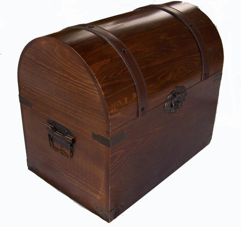 LARGE OPEN WOOD TREASURE CHEST wooden pirate storage box VINTAGE LOOKING #201 LG