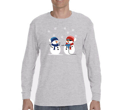 Mens 2 Snowman Stick Up Ugly Christmas Sweater Funny Winter Long Sleeve T-Shirt