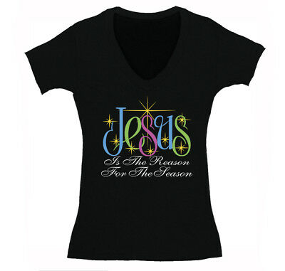 Womens Jesus is Reason For the Season Religious Christmas Easter V-Neck T-Shirt