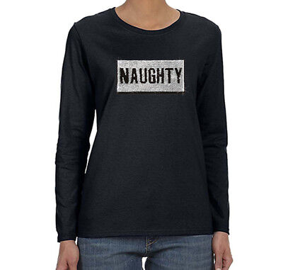 Naughty Nice Party (Womens Naughty Nice Flip Reversible Sequined Christmas Party Long Sleeve)