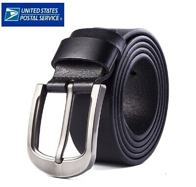 Mens Genuine Leather Belt Belts With Classic Silver Buckle Brown Black US STOCK