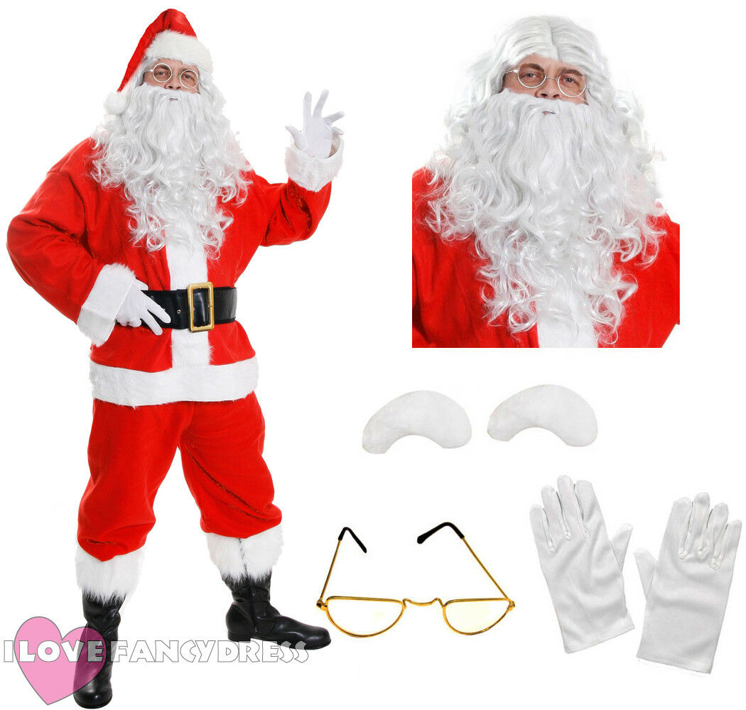 DELUXE SANTA COSTUME 10 PIECE PLUSH FATHER CHRISTMAS FANCY DRESS ...