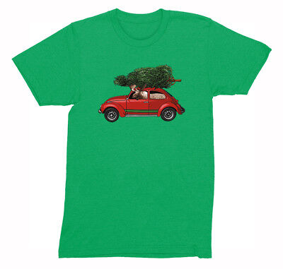 Mens Moose Driving Bug Tree Ugly Christmas Sweater Funny Gift Elk Crew T-Shirt