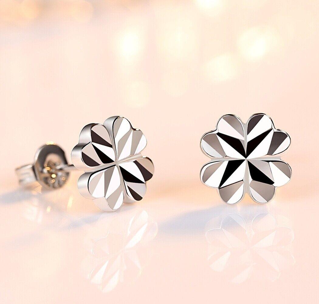 Jewellery - 925 Sterling Silver Heart Clover Shine Stud Earrings Womens Girls Jewellery Gift