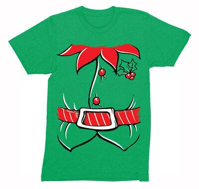 Mens Elf Costume Santa Funny Holiday Ugly Christmas Winter Crewneck T-Shirt](Mens Christmas Elf Costume)