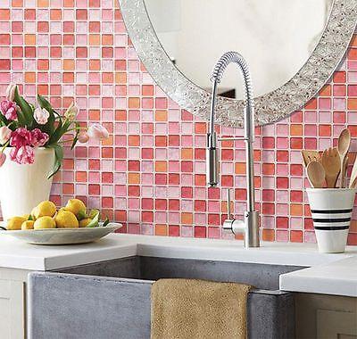 Home Bathroom Kitchen Wall Decor 3D Sticker Wallpaper Art Tile Cherry Backsplash
