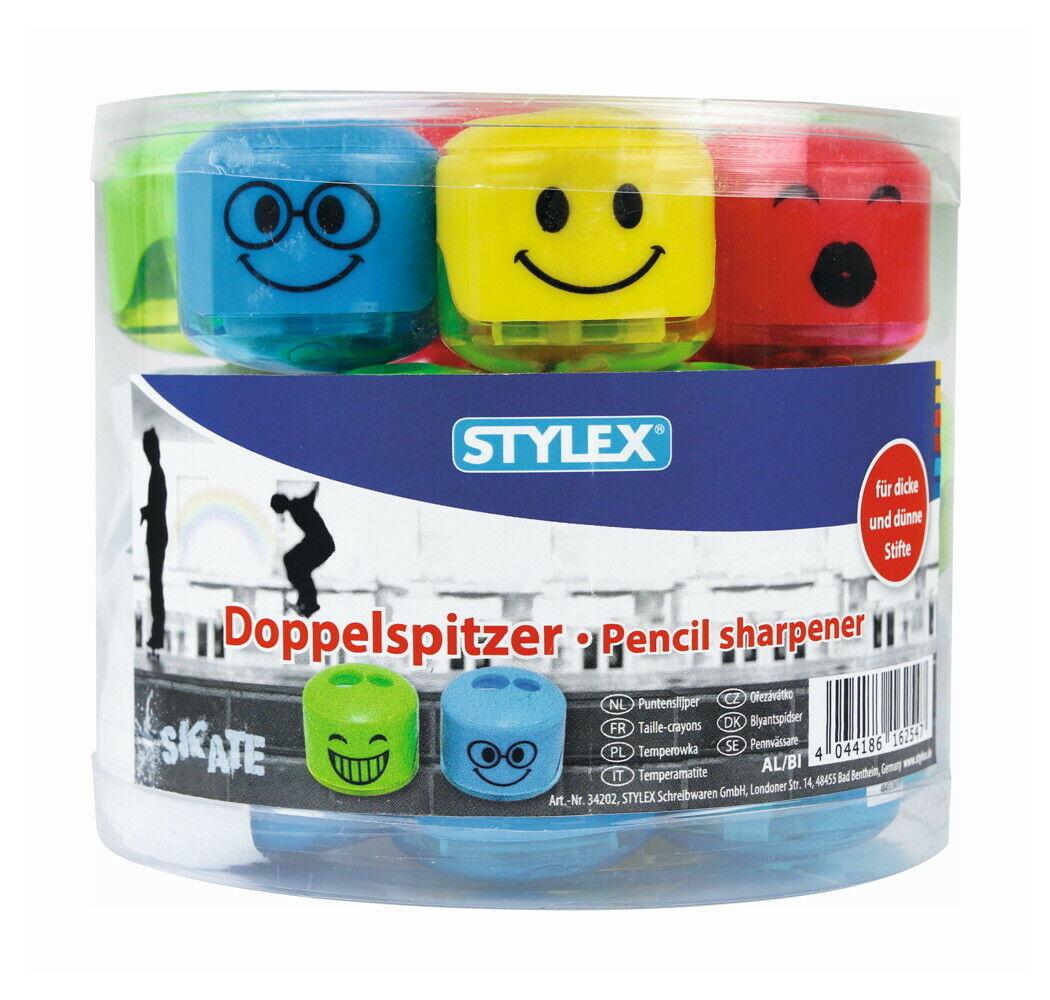 Doppelanspitzer Smile mit Auffangbehälter in 4 Farben Anspitzer von Stylex